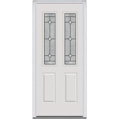30 in. x 80 in. Carrollton Decorative Glass 2 Lite Painted Fiberglass Smooth Prehung Front Door Product Photo