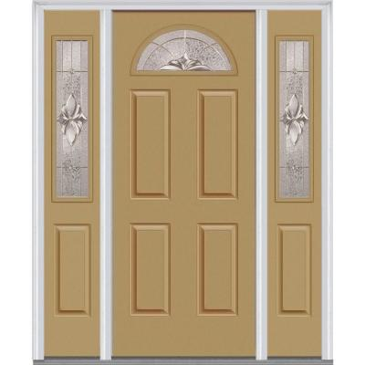 60 in. x 80 in. Heirloom Master Decorative Glass 1/4 Lite Painted Majestic Steel Prehung Front Door with Sidelites Product Photo