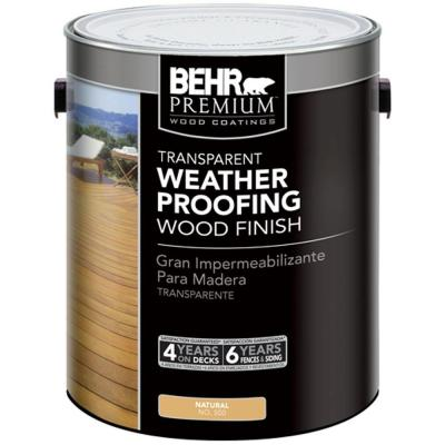BEHR Premium 1-gal. #500 Natural Transparent Weatherproofing Wood Finish