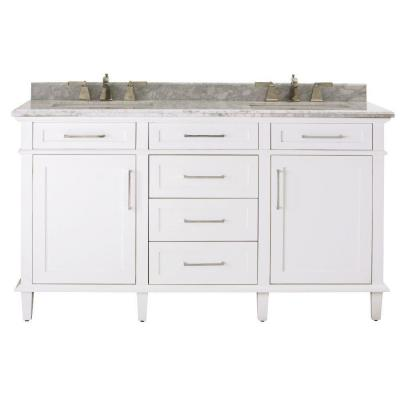 Sonoma 60 in. Double Vanity in White with Marble Vanity Top