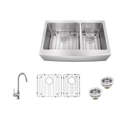 IPT Sink Company Apron Front 36 in. 16-Gauge Stainless Steel Double Bowl Kitchen Sink in Brushed Stainless with Gooseneck Kitchen Faucet