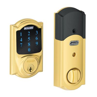 Connect Camelot Bright Brass Touchscreen Deadbolt with Alarm