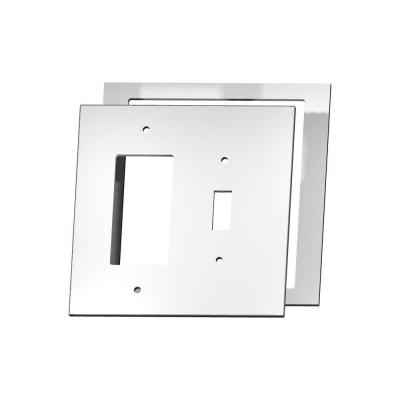 MirrEdge Acrylic Mirror 1 Toggle 1 Decora Wall Plate with Clear Acrylic Spacer