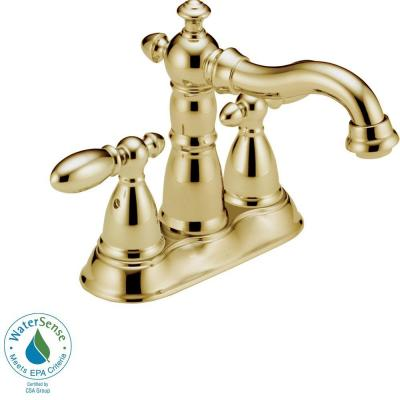 Delta Victorian 4 In Centerset 2 Handle High Arc Bathroom Faucet In Polished
