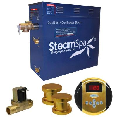 SteamSpa Oasis 12kW QuickStart Steam Bath Generator Package with Built-In Auto Drain in Polished Gold