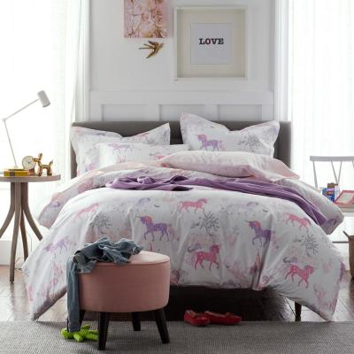 Prancing Unicorns Graphic Organic Cotton Percale Duvet Cover
