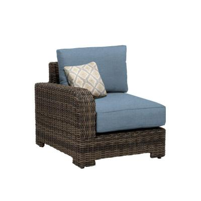 Northshore Left Arm Patio Sectional Chair with Denim Cushion and Bazaar