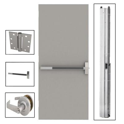 L.I.F Industries 36 in. x 80 in. Flush Gray Steel Commercial Door with Hardware