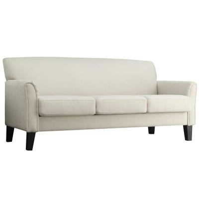 Durham Contemporary Linen Sofa in White Product Photo