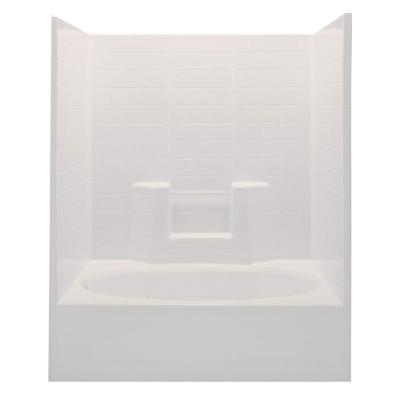 Aquatic Everyday Textured Tile 60 in. x 36 in. x 72 in. 1-Piece Bath and Shower Kit with Right Drain in Biscuit