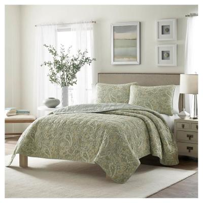 Emilia Green Floral Cotton Quilt Set