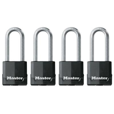 Master Lock Magnum 2 in. Covered Laminated Padlock with 2-1/2 in. Shackle (4-Pack)