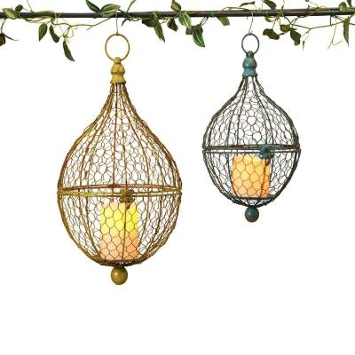 Onion Shaped Metal Wire Hanging Candle Holder (Set of 2)