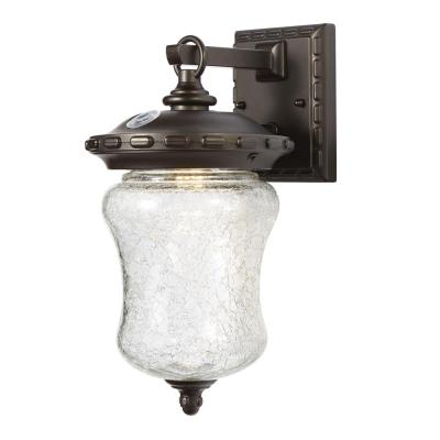 Home Decorators Collection Baxley Aged Patina Dusk to Dawn Outdoor Integrated Led Wall Mount Lantern