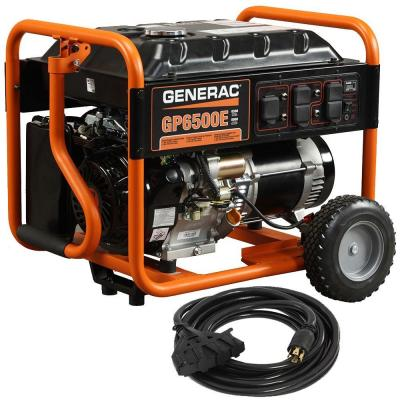 Generac GP6500E 6,500-Watt Gasoline Powered Electric Start Portable Generator with Cord