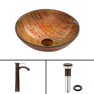 Glass Vessel Sink in Blazing Fire with Otis Faucet Set in