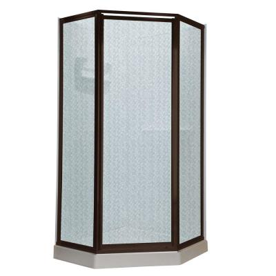 American Standard Prestige 24.25 in. x 68.5 in. Neo-Angle Shower Door in Oil-Rubbed Bronze with Hammered Glass
