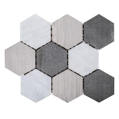 Tread 10-1/2 in. x 12-1/4 in. x 8 mm Marble Mosaic Tile Product Photo