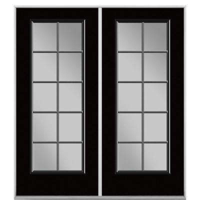 Prehung 10 Lite Primed Steel Patio Door with No Brickmold