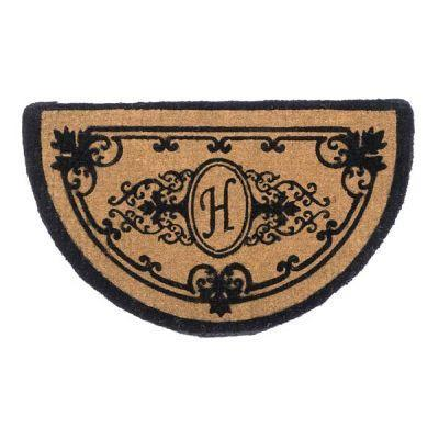 Perfect Home Hamilton Brown 39 in. x 24 in. Half-Circle Monogram H Door Mat-DISCONTINUED