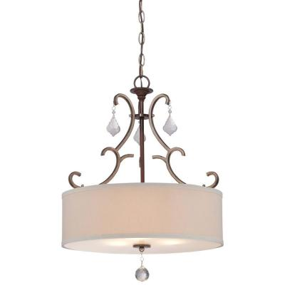 Gwendolyn Place 3-Light Dark Rubbed Sienna with Aged Silver Pendant Product Photo