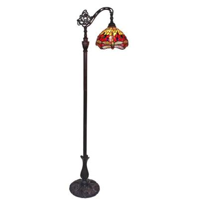 Amora Lighting 62 in. Tiffany Style Dragonfly Reading Floor Lamp