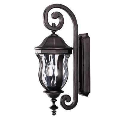 Illumine 2-Light Black Wall Mount Lantern with Clear Watered Glass