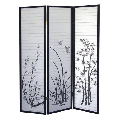 Home Decorators Collection 3-Panel Natural-Fiber Room Divider with Scenery