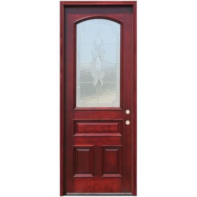 Pacific Entries 36in.x96in. Traditional 3/4 Arch Lt Stained Mahogany Wood Prehung Front Door w/6in Wall Series and 8 ft. Height Series