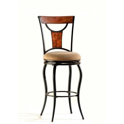 Pacifico 30 in. Bar Stool with Beige Faux Seat in Black with Copper Highlights Product Photo