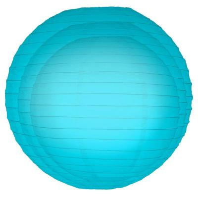 Multi Size Turquoise Paper Lanterns (6-Count)