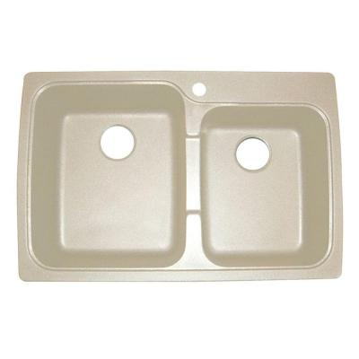 Astracast Offset Dual Mount Granite Composite 33 in. 1-Hole Double Basin Sink in Sahara Beige
