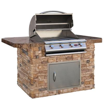 Cal flame 6 ft stone grill island with bar depth top and 4 burner stainless steel propane gas - Home depot bbq propane ...