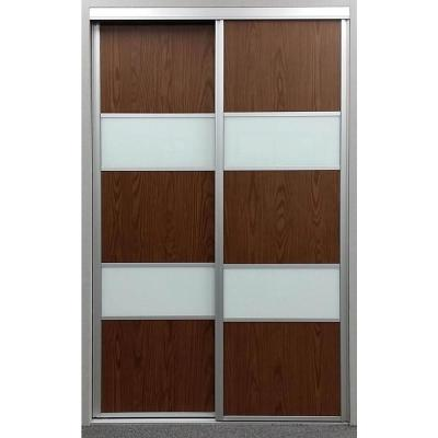 60 in. x 81 in. Sequoia Walnut and White Painted Glass Aluminum Interior Sliding Door Product Photo