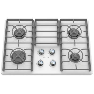 Architect Series II 30 in. Gas-on-Glass Gas Cooktop in White with