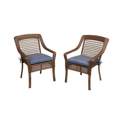 Spring Haven Brown All-Weather Wicker Patio Dining Chair with Sky Blue