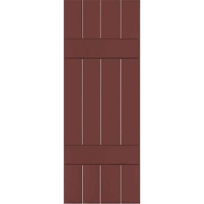 15 in. x 73 in. Exterior Real Wood Pine Board and Batten Shutters Pair Cottage Red Product Photo