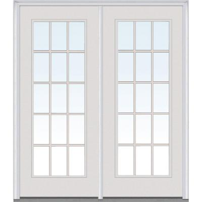 60 in. x 80 in. Classic Clear Glass Builders Choice Steel Prehung Left-Hand Inswing 15 Lite GBG Patio Door Product Photo