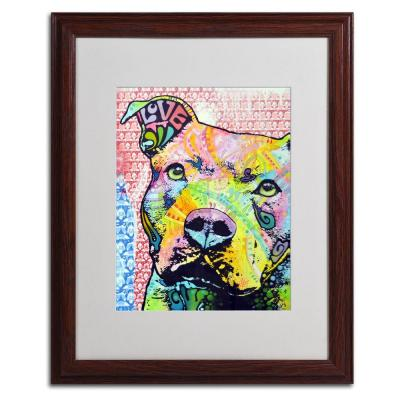 Trademark Fine Art 16 in. x 20 in. Thoughtful Pitbull II Matted Brown Framed Wall Art