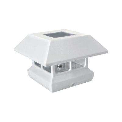 4 in. x 4 in. White Plastic Solar-Powered Post Cap (4-Pack)