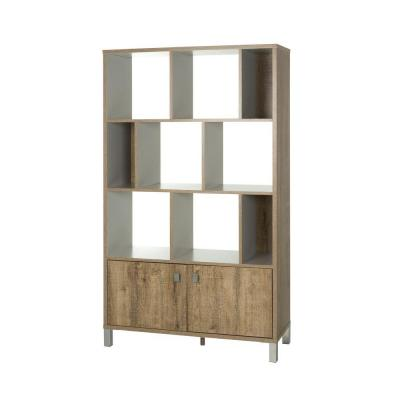 Expoz 11-Shelf Bookcase in Weathered Oak and Soft Gray Product Photo