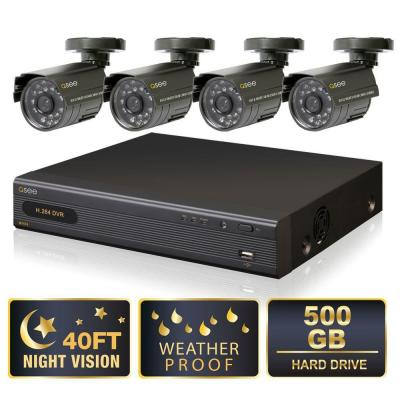 Q-SEE Lite Series 4 CH 500 GB Hard Drive Surveillance System with (4) 400 TVL Cameras-DISCONTINUED