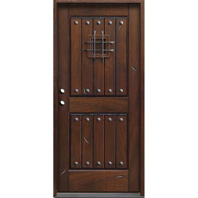 Rustic Mahogany Type Prefinished Distressed Solid Wood Speakeasy Prehung Front Door
