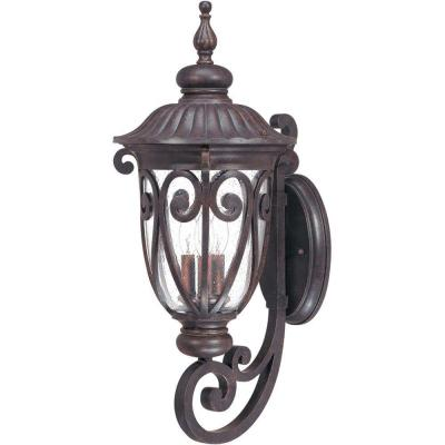 3-Light Outdoor Burlwood Large Wall Lantern Arm Up with Seeded Glass