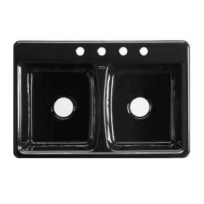 ... Cast Iron 33x22x8.625 4-Hole Double Bowl Kitchen Sink in Black Black