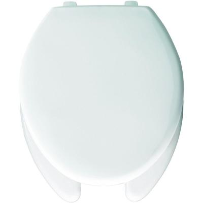 Self-Sustaining Elongated Open Front Toilet Seat in White