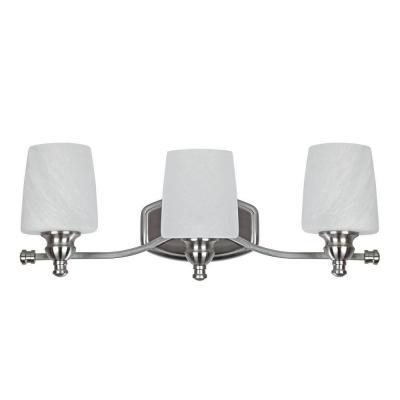 Bathroom Vanity Light Glass Shades : Chloe Lighting Transitional 3-Light Brushed Nickel Bath Vanity Wall Fixture with Alabaster Glass ...