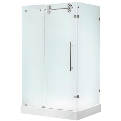 Vigo 36 in. x 79 in. Frameless Bypass Shower Enclosure in Chrome with Frosted Glass and Left Base
