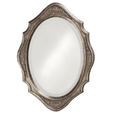27 in. x 19 in. Grooved Wood Silver Leaf Framed Mirror