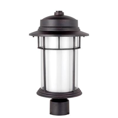 Globe Electric Rustica 16.5 in. Outdoor Black Post Mount Light